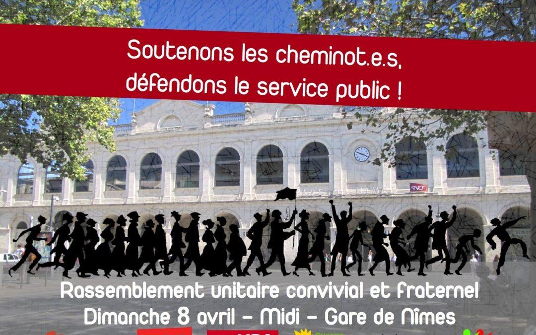 Rassemblement unitaire devant la gare de Nîmes